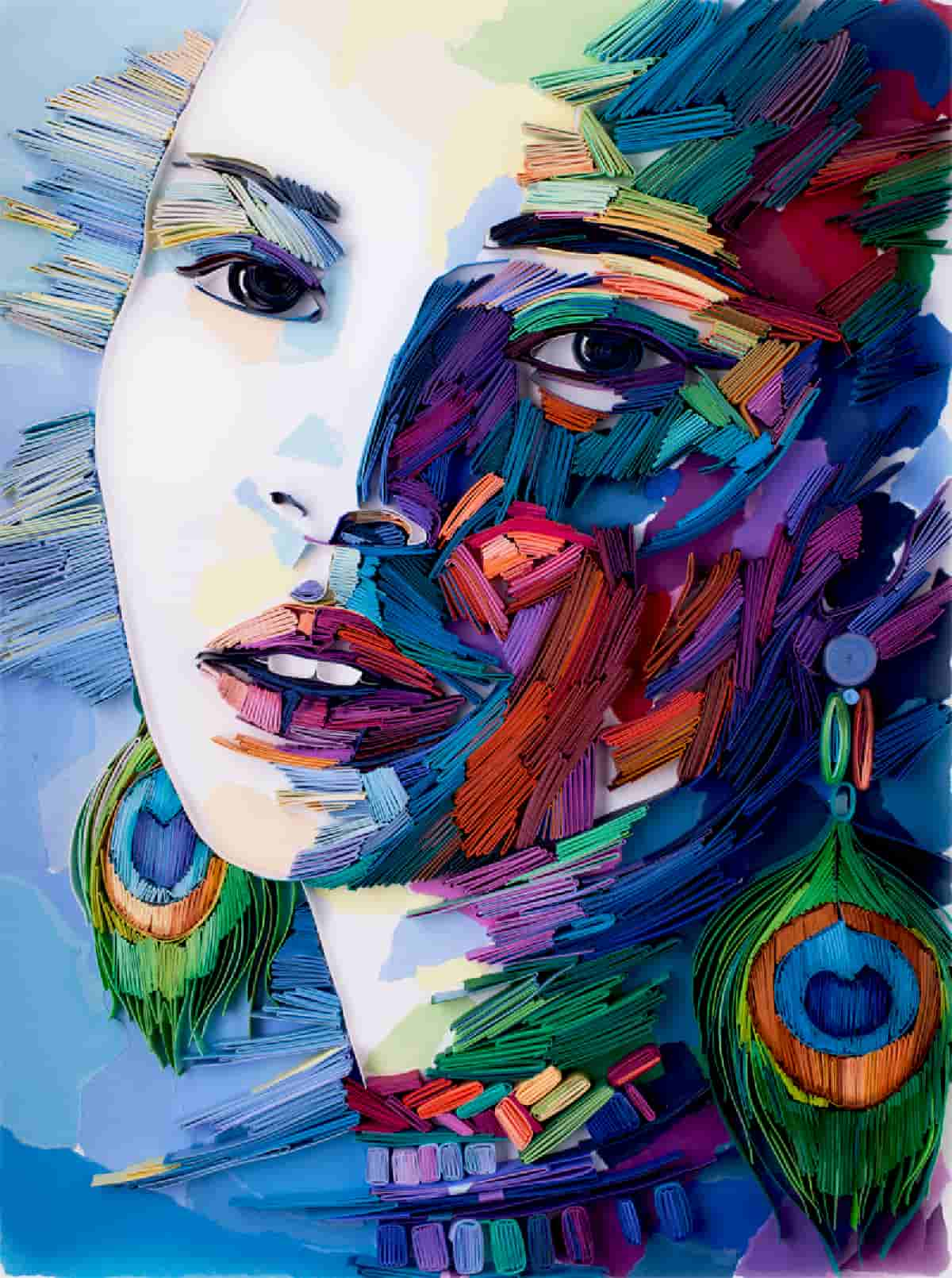 Dark Backgrounds Dramatize Colorful Portraits of Quilled Paper